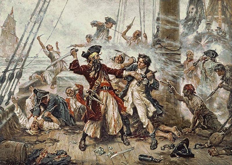 Captura do pirata Barba Negra (pintura de Jean Leon Gerome Ferris / wikimedia)