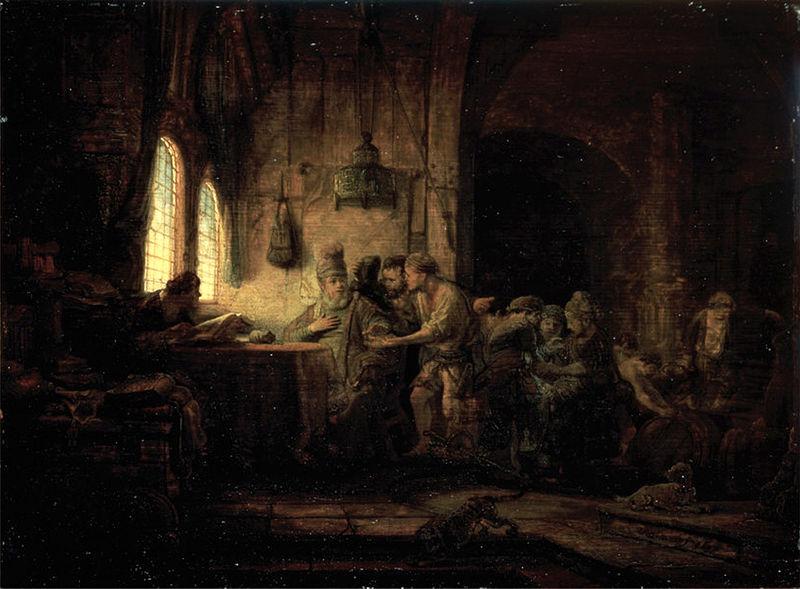 Parábola do Empregador Generoso, 1637, por Rembrandt (foto: Museu Hermitage, São Petersburgo / wikimedia)