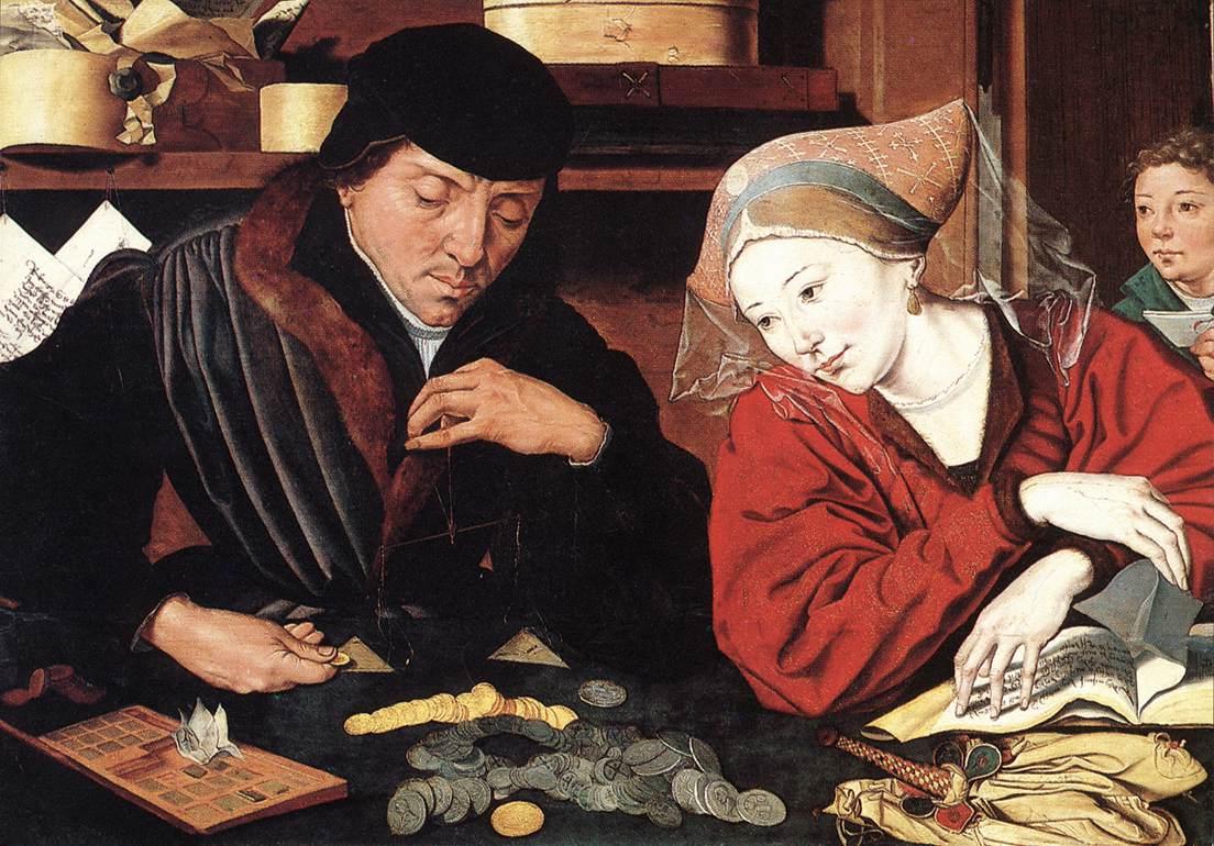 O Banqueiro e a Mulher,  óleo de Marinus van Reymerswale