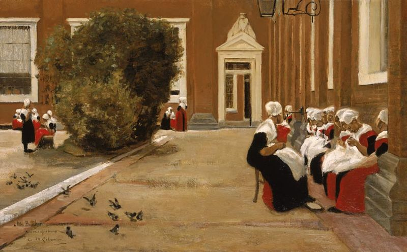 Raparigas Órfãs de Amsterdão, óleo de Max Liebermann, 1881 (The Rau Collection / wikimedia)