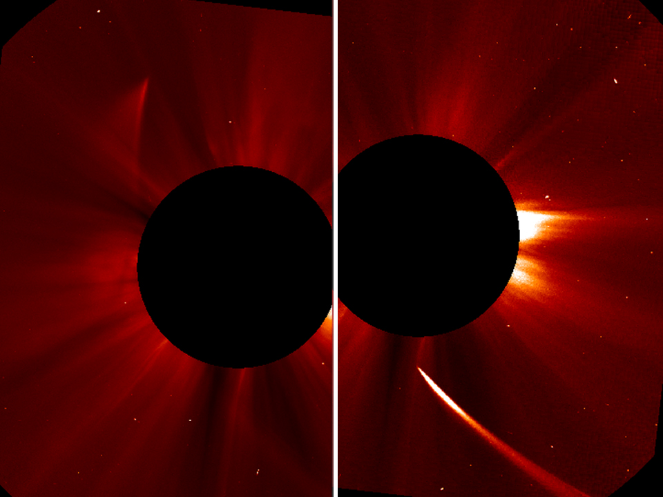 O 'cometa do século' Ison poderá ter sobrevivido à sua passagem pelo Sol (foto: ESA/NASA/SOHO/Jhelioviewer)