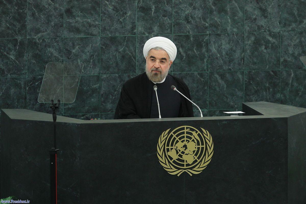 O presidente iraniano, Hassan Rohani no seu primeiro discurso na Assembleia Geral das Nações Unidas em Nova Iorque (foto: president.ir)