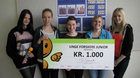 As jovens cientistas dinamarquesas responsáveis pelo estudo: Lea Nielsen, Mathilde Nielsen, Signe Nielsen, Sisse Coltau and Rikke Holm (foto: Kim Horsevad / Hjallerup School)