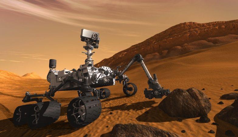 O robô Curiosity revelou a presença em Marte de depósitos sedimentares deixados num passado distante por água.
