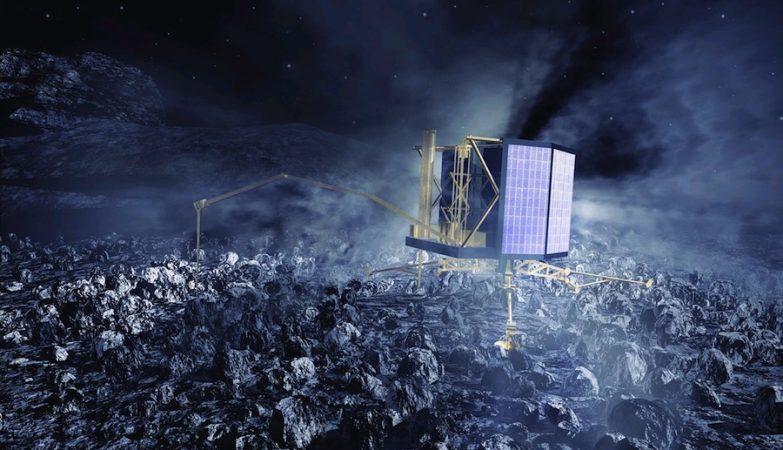 Esboço artístico da sonda Philae da nave Rosetta no cometa 67P/Churyumov-Gerasimenko