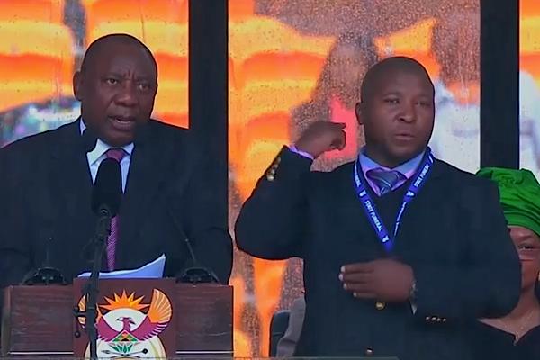 Thamsaga Jantje, o falso intérprete no funeral de Mandela