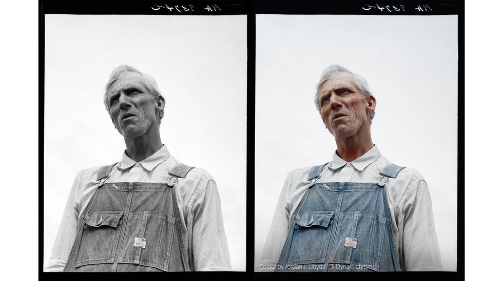 Arkansas Sharecropper (foto preto e branco de 1936 por Dorothea Lange, cortesia da Biblioteca do Congresso dos EUA / foto colorida por Jordan J. Lloyd / Dynamichrome).