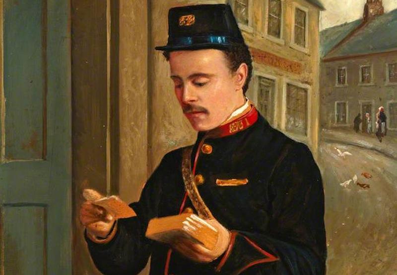 """""""Retrato de um Carteiro"""" (p.), óleo de Thomas Patterson, 1912 (foto: The British Postal Museum & Archive / wikimedia)"""