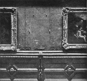 Lugar vazio de Mona Lisa no Louvre, depois do roubo da obra