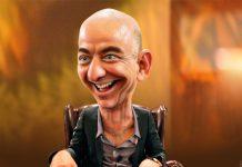 Jeff Bezos, fundador e CEO da Amazon, caricatura de Donkey Hotey