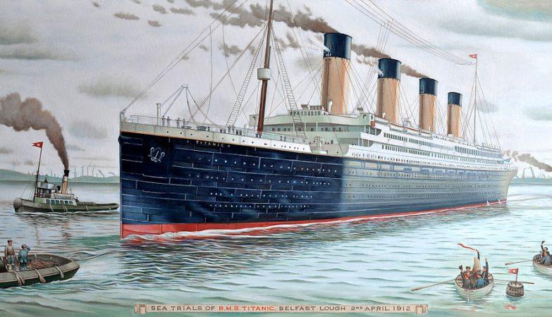 """""""Viagem inaugural do Titanic"""", óleo de Karl Beutel"""