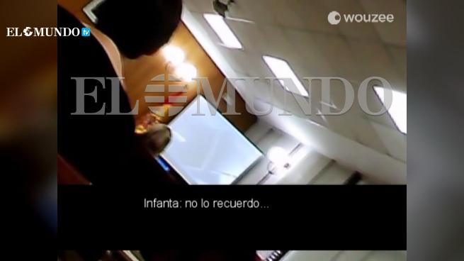 Reprodução das imagens amadoras recolhidas sem autorização durante o depoimento da infanta Cristina