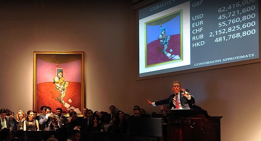 "Leilão de ""Portrait of George Dyer Talking"" na Christie's"