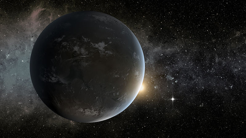 Exoplaneta Kepler-62f com a estrela 62e