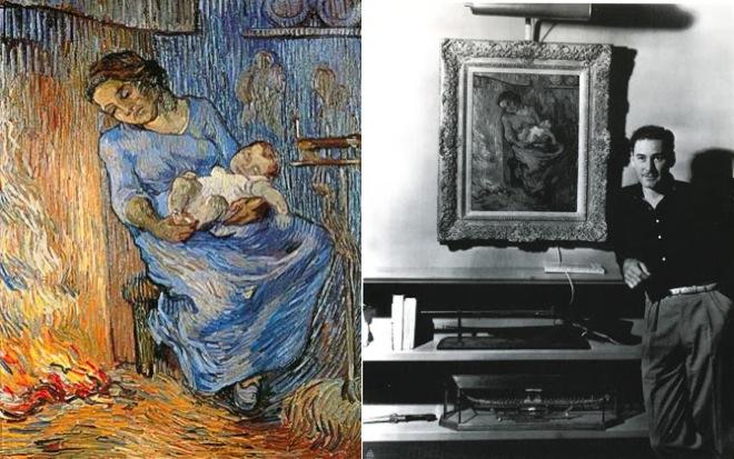 Errol Flynn fotografado com um dos quadros de Van Gogh que passou por Lisboa
