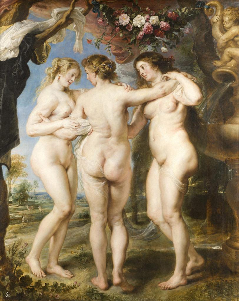 """""""As Três Graças"""" (1635), pintura a óleo de Peter Paul Rubens"""