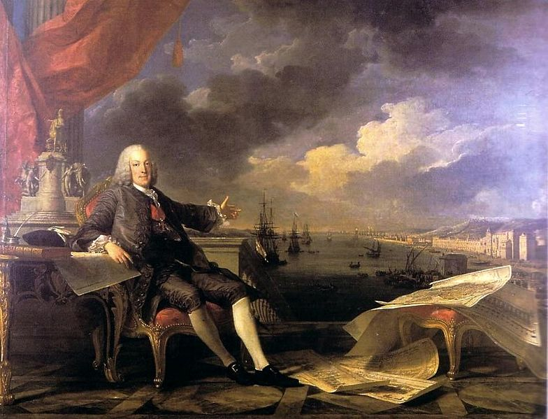 Retrato do Marquês de Pombal, 1766, por Louis Michel Vanlò e Claude Joseph Vernet
