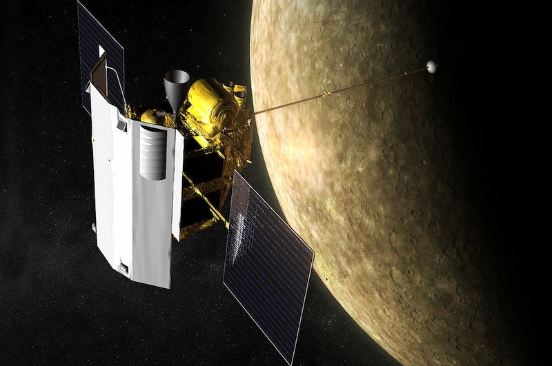 A nave Messenger em órbitra de Mercúrio