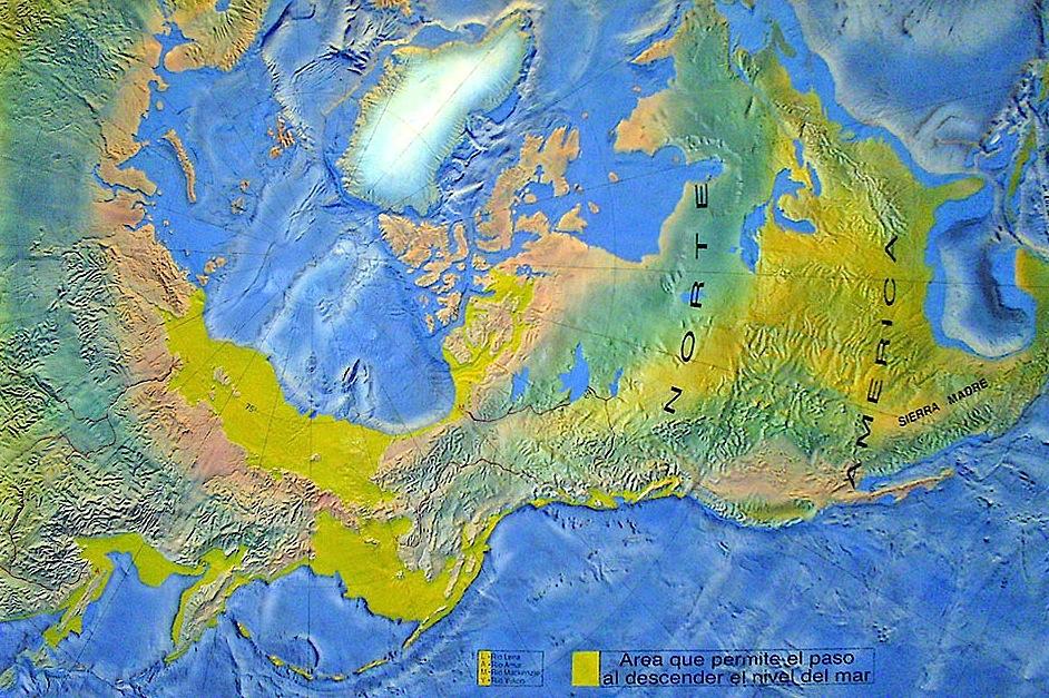 """A descida do nível das águas criou há milhares de anos uma """"ponte terrestre"""" no que é hoje o estreito de Bering"""