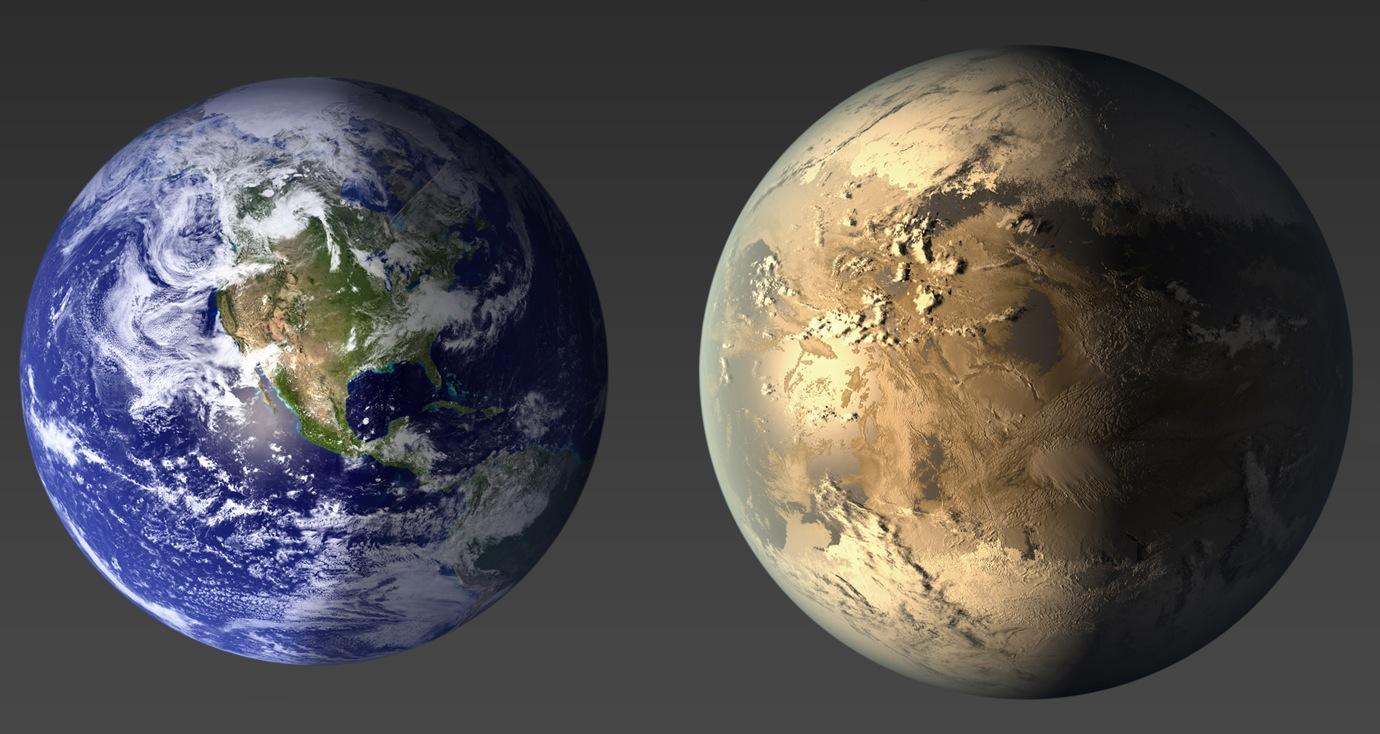 A Terra, à esquerda, comparada com o exoplaneta Kepler-186f