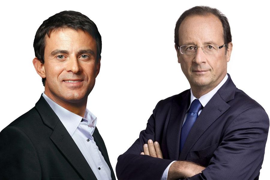 O primeiro-ministro Manuel Valls e o presidente François Hollande