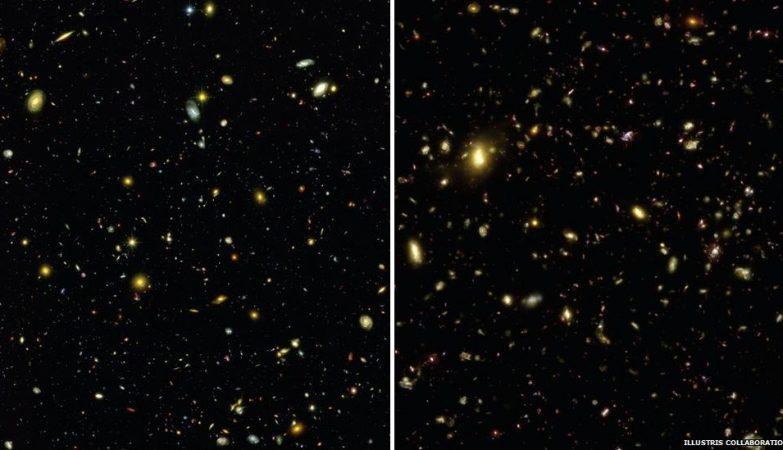 O Universo real captado pelo telescópio Hubble, à esquerda, e a imagem gerada pela simulação à direita.