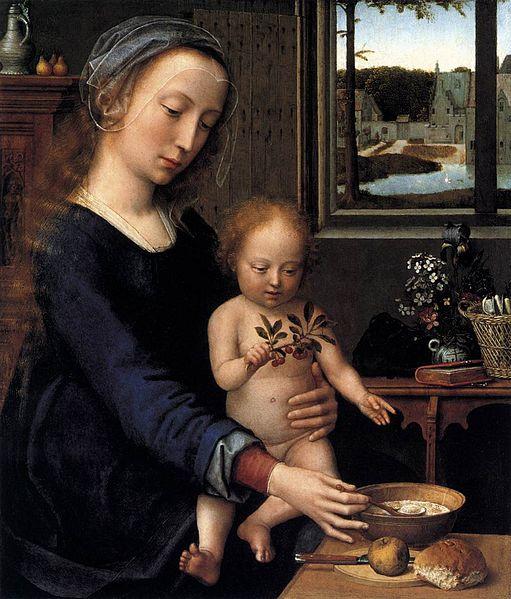 """""""Virgem da Sopa de Leite"""", óleo em carvalho de Gerard David (circa 1450/1460–1523)"""