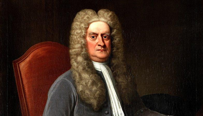 Retrato de Sir Isaac Newton (detalhe) , óleo em tela de autor desconhecido, c. 1715-1720