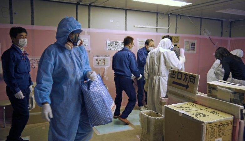 Trabalhadores em Fukushima
