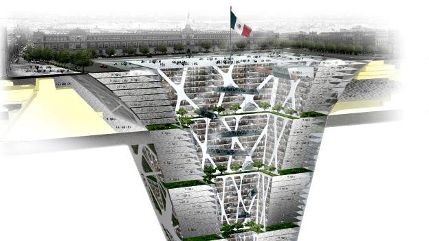 Rascasuelos, um arranha-céus enterrado debaixo da Zocalo, a praça central da Cidade do México