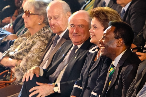 Dilma Rousseff com Joseph Blatter, João Havelange e Pelé