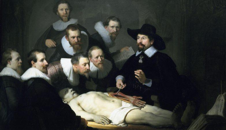 """""""A lição de anatomia do Dr. Nicolaes Tulp"""", de Rembrandt Harmenszoon van Rijn, óleo em tela de 1632"""
