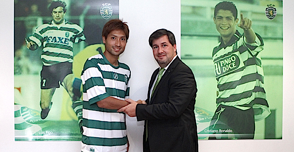 Junya Tanaka com o presidente do Sporting, Bruno de Carvalho