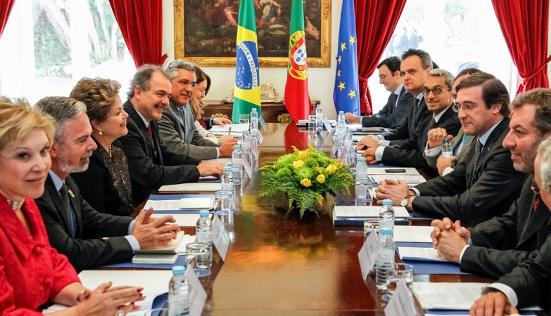 Encontro de trabalho Portugal - Brasil, em Lisboa, com Pedro Passos Coelho e Dilma Rousseff.