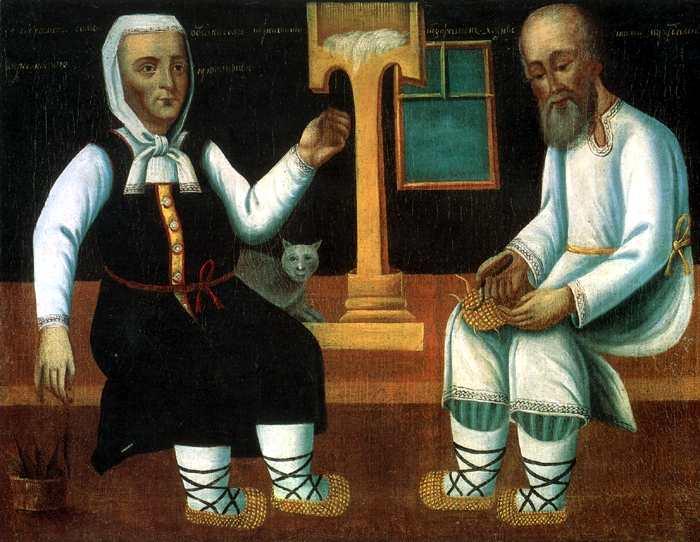 A Velha e o Sapateiro, óleo do século XIX, autor desconhecido