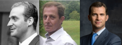 Alberto Sola Jimenez (ao centro), 52 anos, alega ser filho ilegítimo de Juan Carlos (à esquerda, com 50 anos)