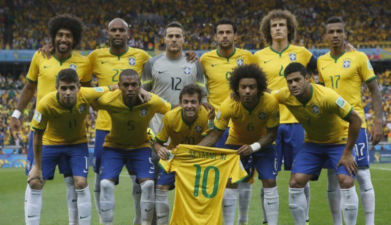 Os 12 jogadores que alinharam de início pela selecção brasileira no Brasil 1-7 Alemanha
