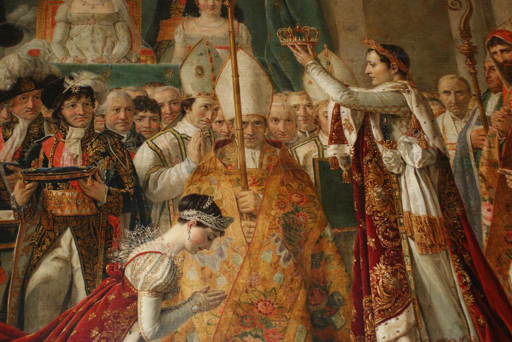 """Josefina e Napoleao, detalhe de """"A coroação de Josefina"""", óleo de Jacques-Louis David, 1807"""