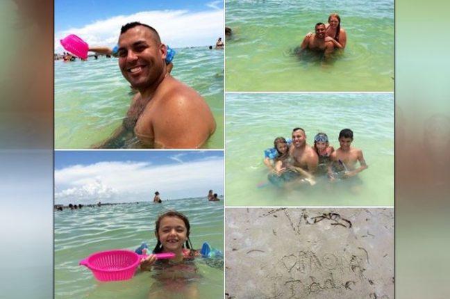 Ommy Irizarry e a família. Em baixo, Oceana, de 9 anos