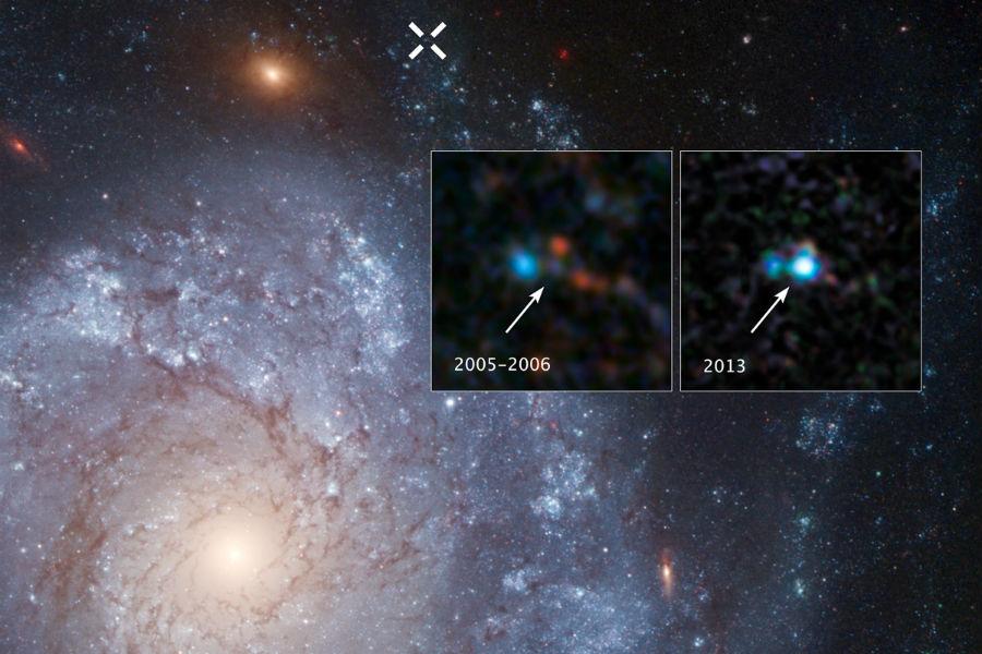 As duas imagens de inserção mostram o antes-e-depois, capturado pelo Telescópio Espacial Hubble, da supernova 2012Z na galáxia espiral NGC 1309. O X branco no topo da imagem principal marca a localização da supernova na galáxia.