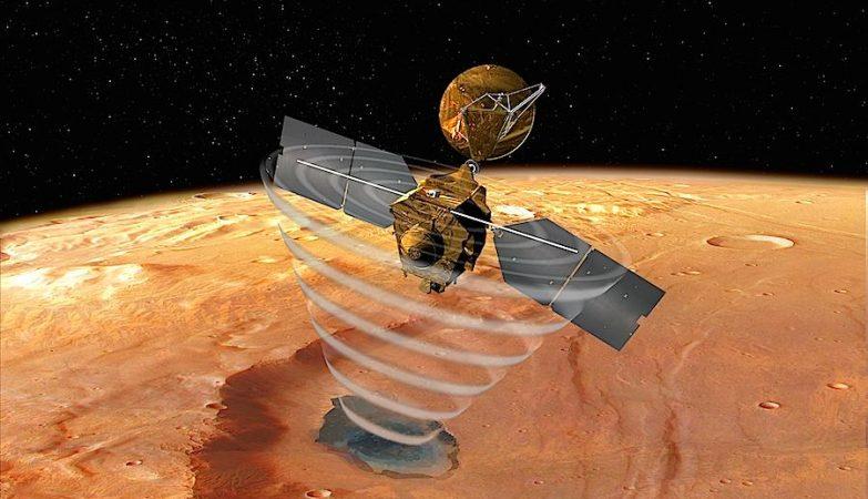 Conceito artístico da Mars Reconnaissance Orbiter, uma das sondas que a NASA tem em órbita de Marte