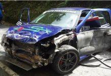 O Renault Clio de Hélder Macedo e Marco Mota   que se despistou no Rali Sprint de Guimarães provocando a morte de 3 pessoas