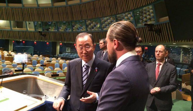 O secretário-geral da ONU, Ban Ki-moon, com Leonardo DiCaprio