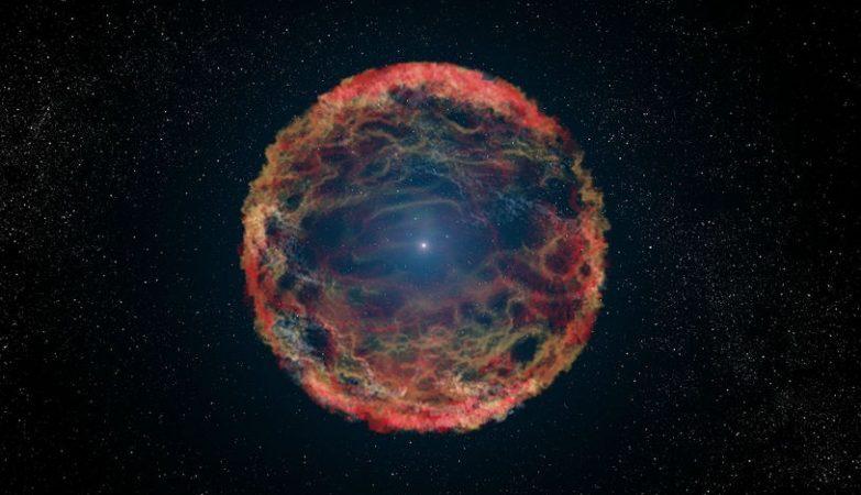Impressão de artista da supernova 1993J, que explodiu na galáxia M81. Usando o Telescópio Espacial Hubble, astrónomos identificaram a estrela companheira azul e que queima hélio, vista no centro da nebulosa de detritos em expansão, produzida pela supernova.