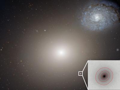 Uma imagem captada pelo Hubble mostra a enormegaláxia M60 e, no canto inferior direito, a galáxia anã superdensa M60-UCD1, a galáxia mais pequena que se conhece.