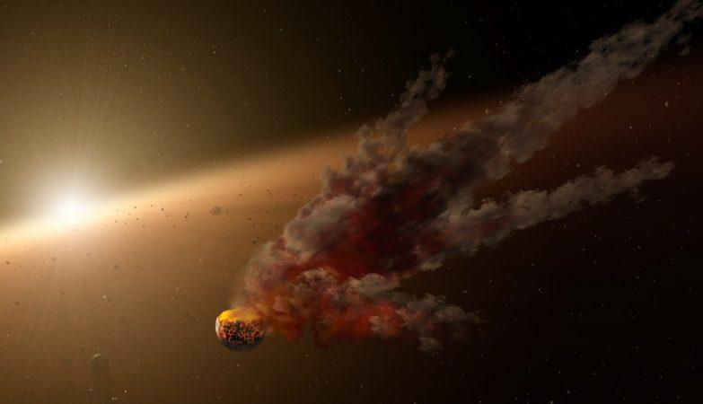 Ilustração de artista que mostra o rescaldo imediato de um grande impacto de asteróide em torno de NGC 2547-ID8, uma estrela parecida com o Sol e com apenas 35 milhões de anos. O Spitzer testemunhou um grande surto de poeira em redor da estrela, provavelmente o resultado da colisão entre dois asteróides.