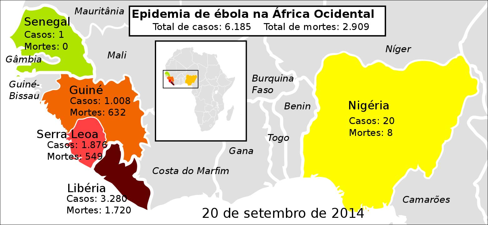 Epidemia de Ébola na África Ocidental, balanço a 20 de Setembro 2014