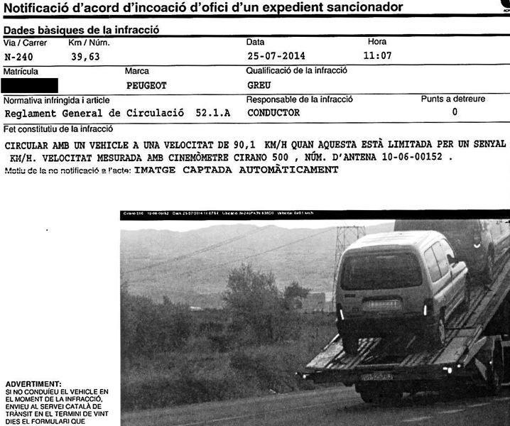 A multa que Ángel Pineda recebeu em casa