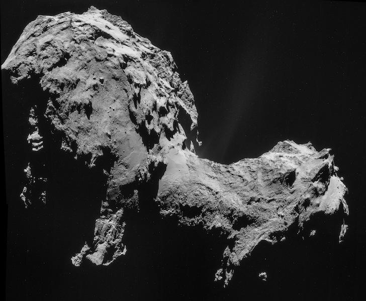 Mosaico de quatro imagens do Cometa 67P/C-G, usando imagens capturadas no dia 19 de Setembro