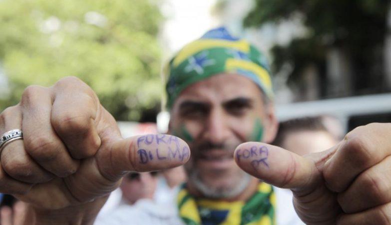 Manifestação em São Paulo contra a reeleição de Dilma Rousseff